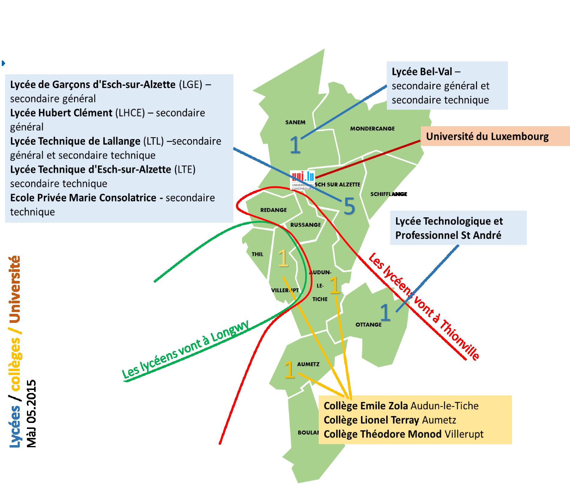 carte de localisation des établissements scolaires